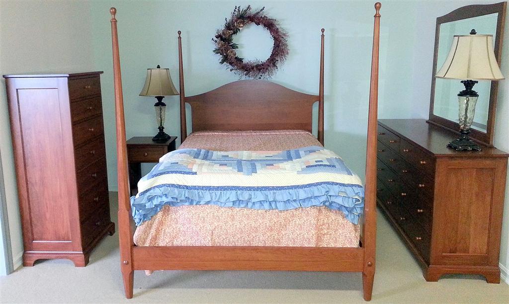 Shaker Cherry Bedroom Furniture Pencil Post Bed